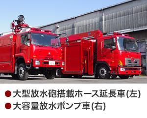 大型放水砲搭載ホース延長車・大容量送水ポンプ車
